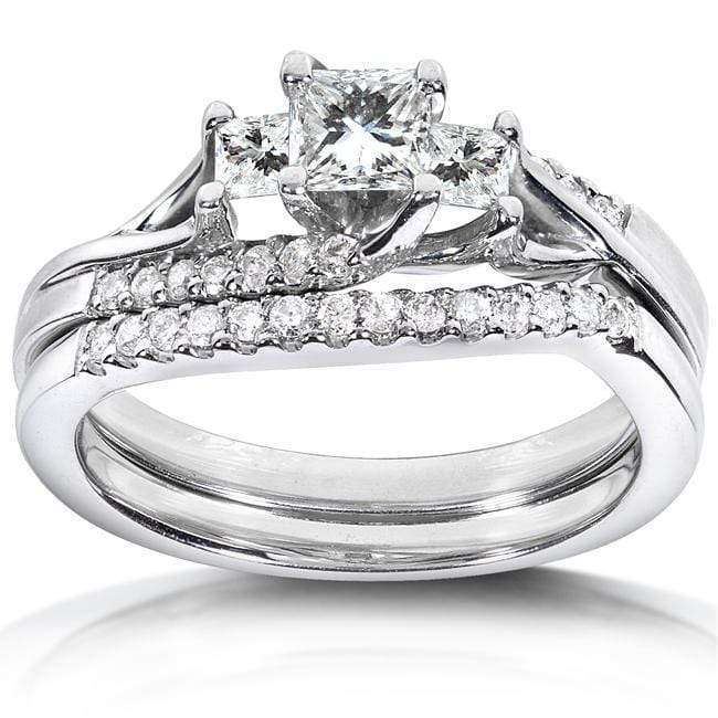Kobelli Slanted Princess Diamond Bridal 3/4ct.tw 14k White Gold