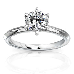 Kobelli Certified Solitaire Diamond Engagement Ring 1ct Round 14k White Gold