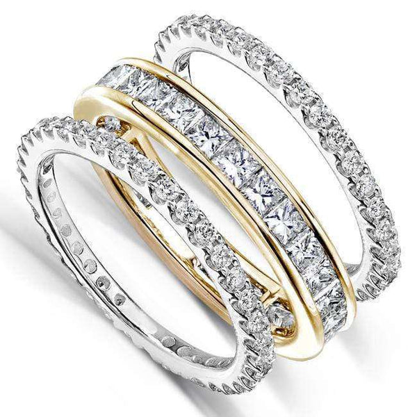 Kobelli Set of 3 Diamond Eternity Bands 3ct.tw 14k Gold