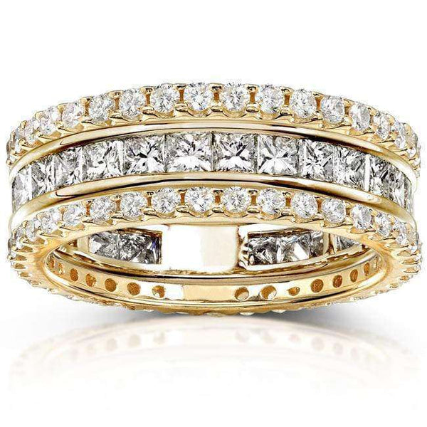 Kobelli Diamond Eternity Bands 3 Carats (ctw) in 14k Yellow Gold (3 Piece Set)