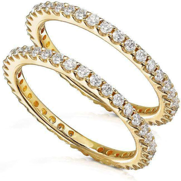 Kobelli Diamond Eternity Bands 1 carat (ctw) in 14K Yellow Gold (2 Piece Set)
