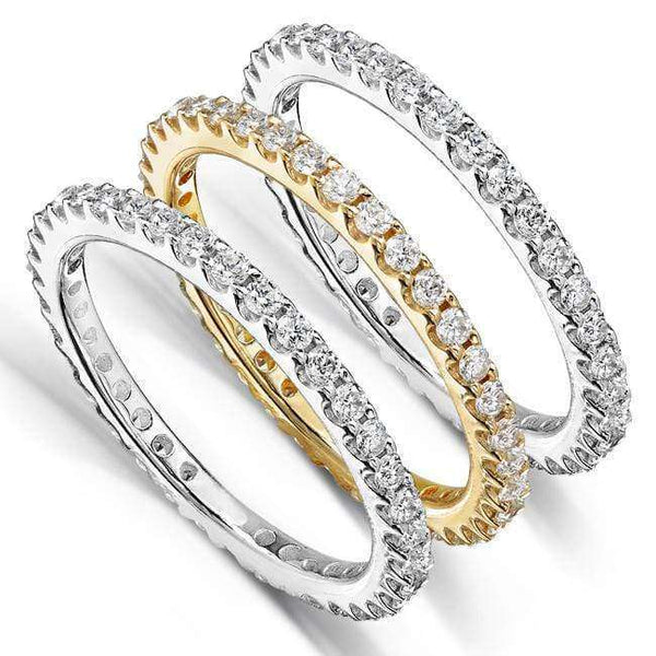 Kobelli Set of 3 Diamond Prong Eternity Bands 1-1/2ct.tw 14k Gold