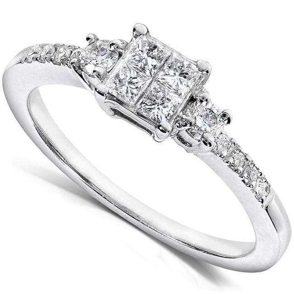 Kobelli Diamond Three-Stone Engagement Ring 3/8 carat (ctw) in 14K White Gold