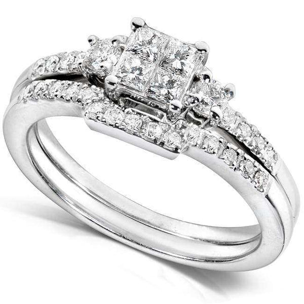 Kobelli Invisible Princess Diamond Bridal Set 1/2ct.tw 14k White Gold