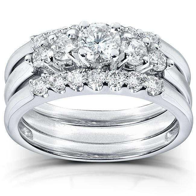 Promos Diamond Engagement Ring and Wedding Band Set 1 carat (ctw) in 14k White Gold (3 Piece Set) - 10.5