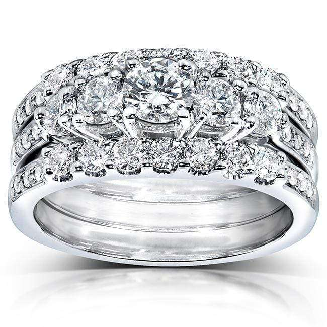 Compare Diamond Engagement Ring and Wedding Band Set 1 1/3 carat (ctw) in 14k White Gold (3 Piece Set) - 5