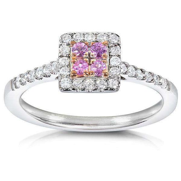 Round Brilliant Pink Sapphire and White Diamond Engagement Ring 1/3 carat (ctw) in 14k White Gold