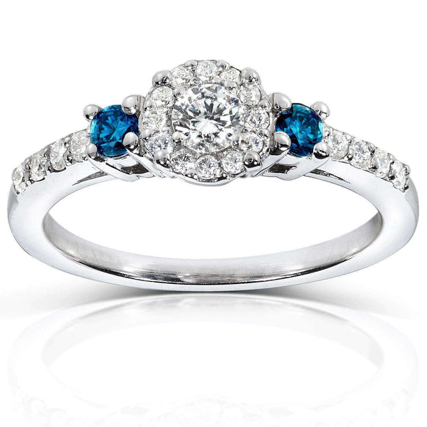 Kobelli Blue and White Diamond Three-Stone Engagement Ring 2/5 CTW in 14K White Gold