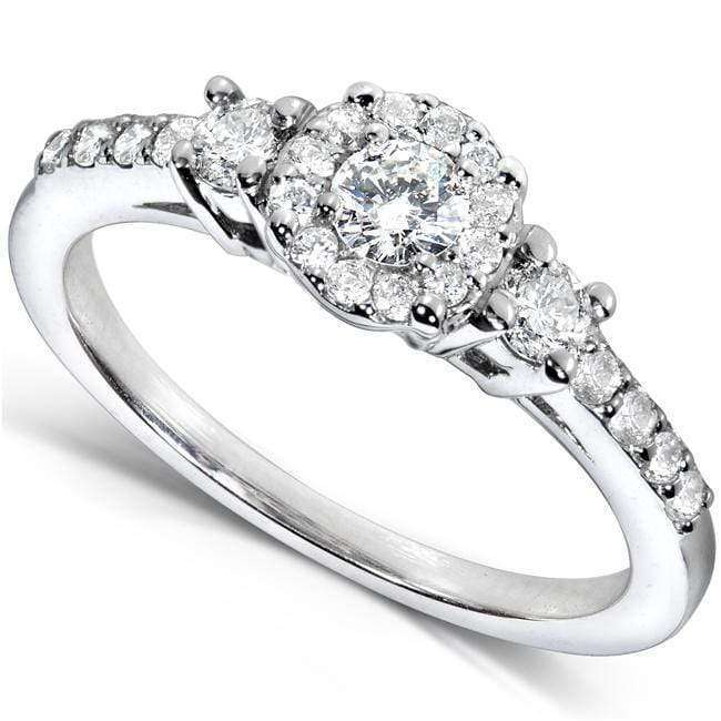 Discounts Multi-Diamond 3 Stone Engagement Ring 1/2ct.tw 14k White Gold - 4.5