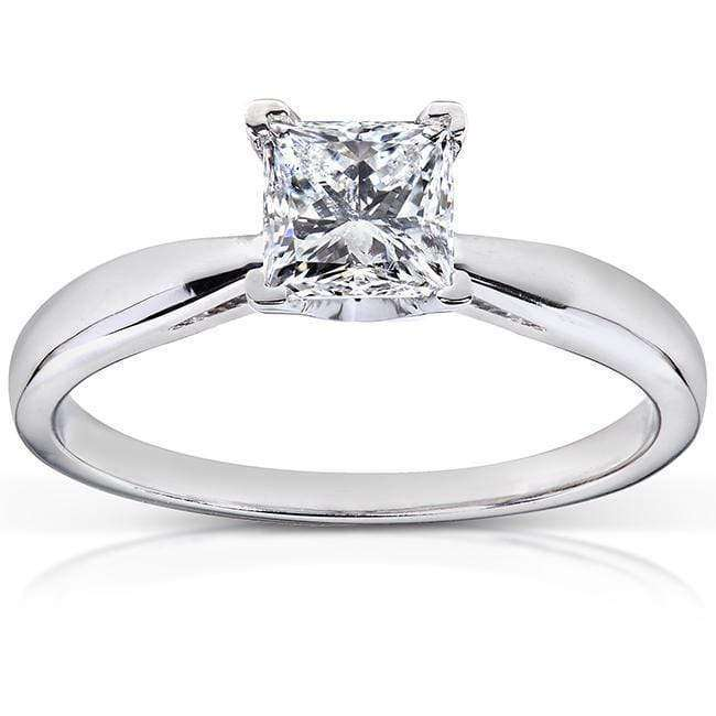Best Princess Cut Diamond Solitaire Engagement Ring 1 Carat in 14k White Gold - 11