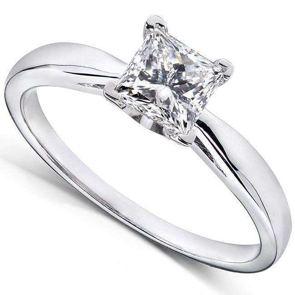 Kobelli Princess Cut Diamond Solitaire Engagement Ring 1 Carat in 14k White Gold
