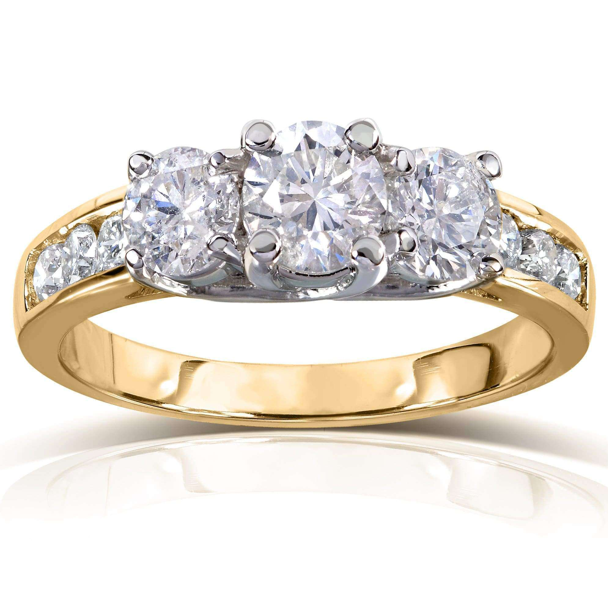 Compare Round Brilliant Three Stone Diamond Engagement Ring 1 1/2 carats (ctw) in 14k White or Yellow Gold - yellow-gold 8