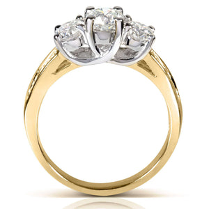 Kobelli Round Brilliant Three Stone Diamond Engagement Ring 1 1/2 carats (ctw) in 14k White or Yellow Gold