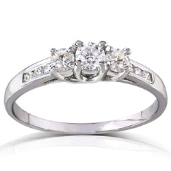 Kobelli Round 3-Stone Diamond Engagement Ring 14k White or Yellow Gold (2/5 CTW) 61573RD-45ENG_4.5_WG