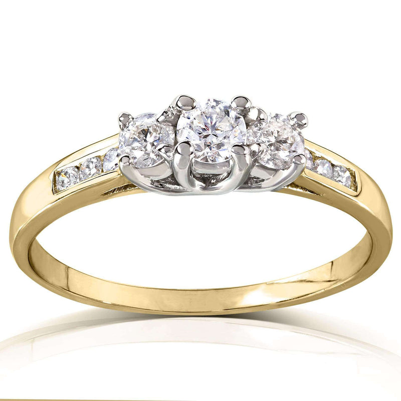 Kobelli Round 3-Stone Diamond Engagement Ring 14k White or Yellow Gold (2/5 CTW) 61573RD-45ENG_4.5_YG