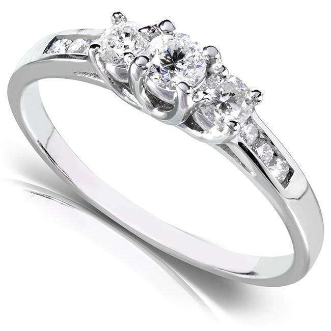Kobelli Round 3-Stone Diamond Engagement Ring 14k White or Yellow Gold (2/5 CTW)
