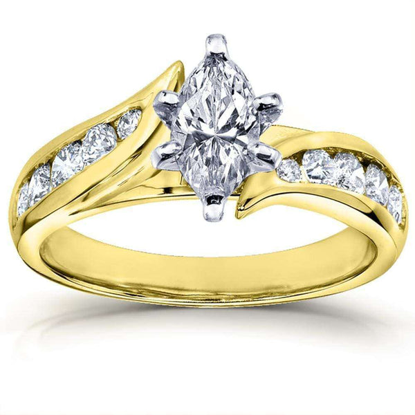 Kobelli Marquise Diamond Engagement Ring 1 1/4ct 14k Yellow Gold