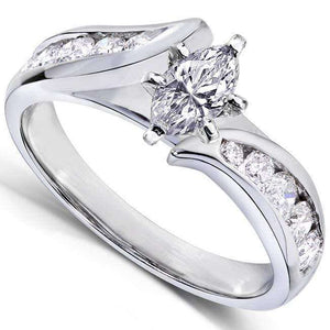 Marquise Diamond Engagement Ring 1 Carat (ctw) in 14k White Gold