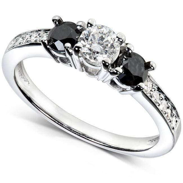 Kobelli Black and White Diamond Engagement Ring 3/5 Carat (ctw) in 14k White Gold