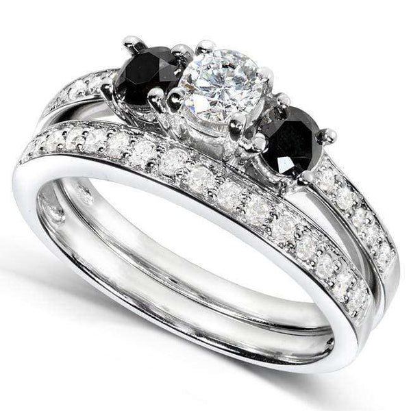 Kobelli Black and White Diamond Wedding Set 3/4 carat (ctw) in 14K White Gold