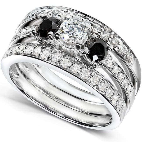 Kobelli Three Stone Round Black and White Diamond Bridal Set 1 Carat (ctw) in 14k White Gold (3 Piece Set)