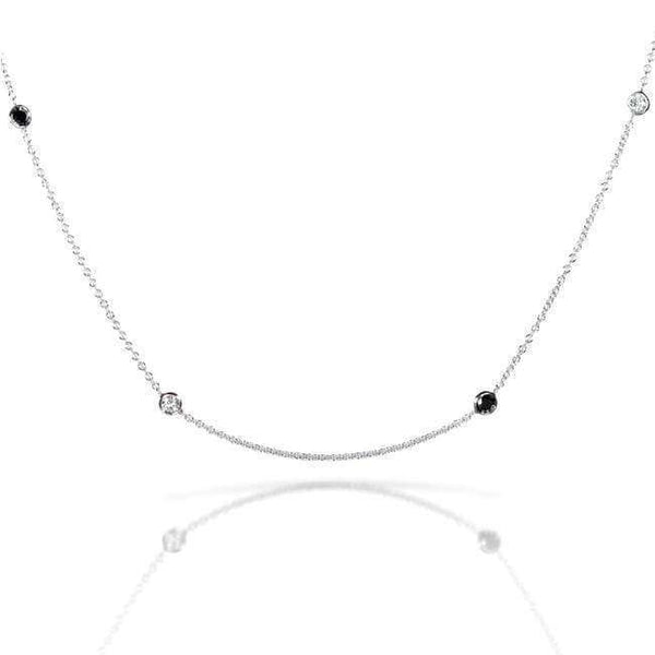 Kobelli Black & White Diamond 1/2 Carat (ctw) Bezel Necklace in 14K White Gold 61579-BLKDM