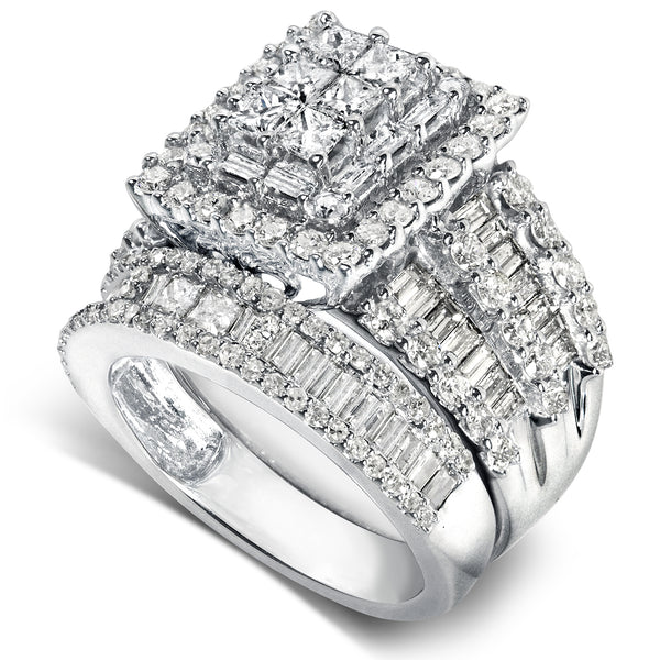Square Cluster Composite Diamond Bridal Set 2 5/8 CTW 14K White Gold