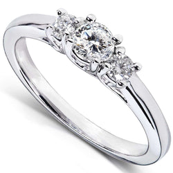 Kobelli Diamond 3-Stone Solid Shank Petite Engagement Ring 1/3CTW 14k White Gold
