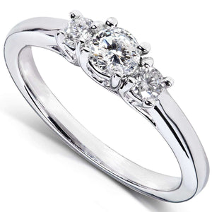 Diamond 3-Stone Solid Shank Petite Engagement Ring 1/3CTW 14k White Gold