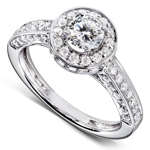 Round Cluster Diamond Halo Engagement Ring 1ct.tw 14k White Gold
