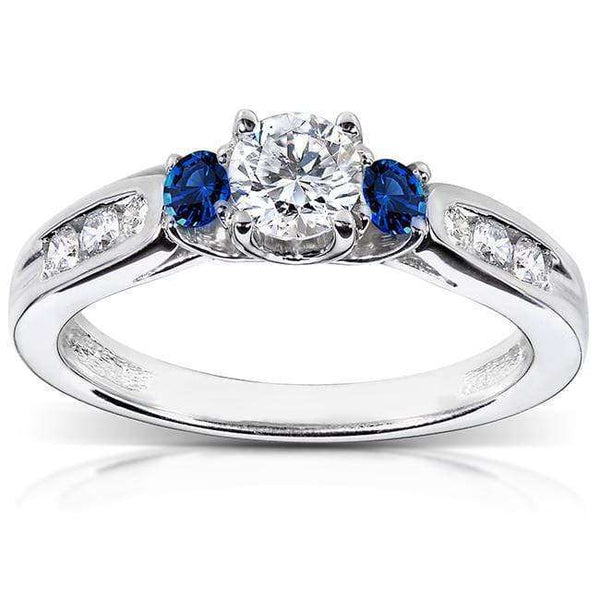 Kobelli Blue Sapphire and Diamond Engagement Ring 5/8 Carat (ctw) in 14k White Gold