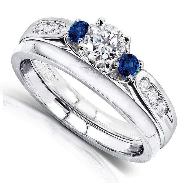 Kobelli Blue Sapphire and Diamond Bridal Set  5/8 Carat (ctw) in 14k White Gold