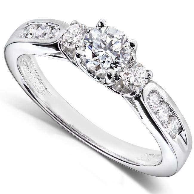 Top Three Stone Round Diamond Engagement Ring 5/8 carat (ctw) in 14k White Gold - 6