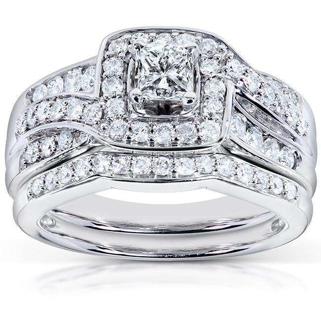 Best Wide Bypass Diamond  Bridal Set 1ct.tw 14k White Gold - 8.5