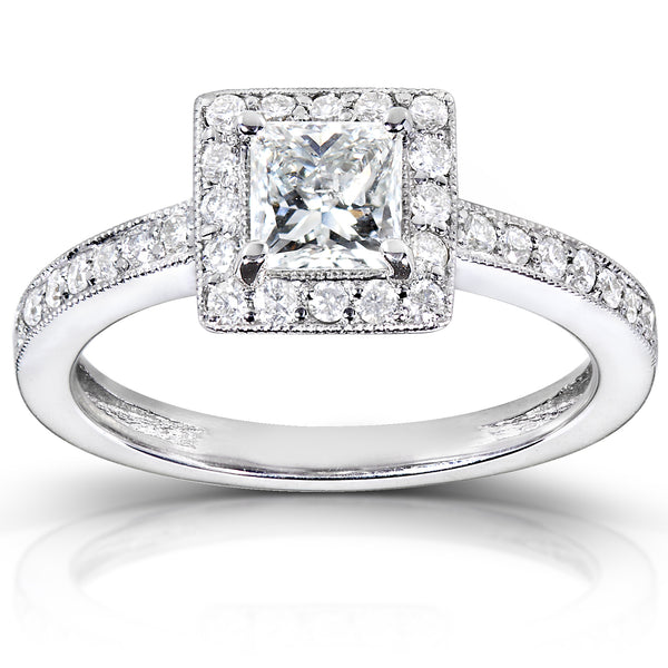 Square Halo Princess Diamond Engagement Ring 3/4ct.tw 14k White Gold