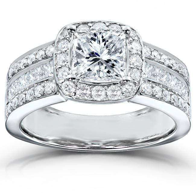Compare Princess Cut Diamond Engagement Ring 2 Carat (ctw) in 14K White Gold - 5