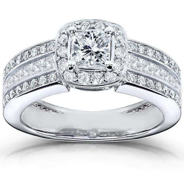 Kobelli Wide Multi-Row Halo Princess Diamond Engagement Ring 1ct.tw 14k White Gold