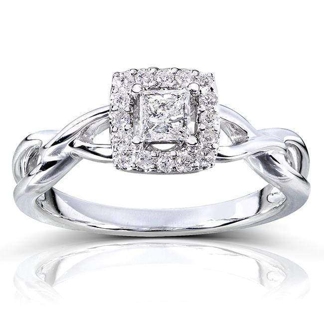 Compare Princess Cut Diamond Engagement Ring 1/3 Carat (ctw) in 14k White Gold - 5.5