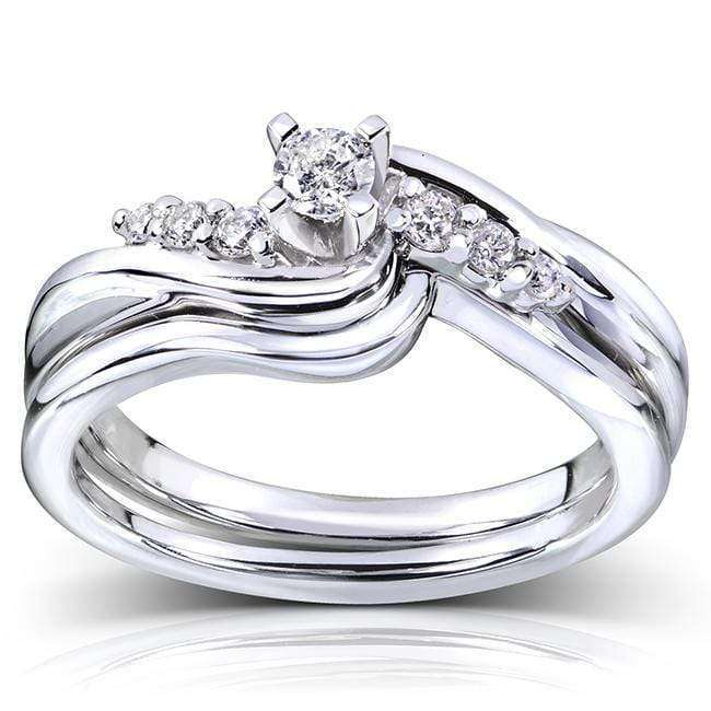Kobelli Round Diamond Bridal Set  Ring 1/5 carat (ctw) in 14k White Gold