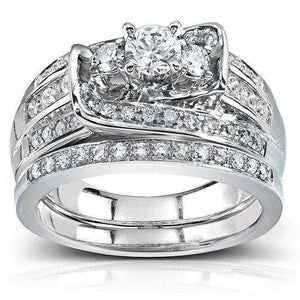 Kobelli Round Diamond Bridal Set Ring 1 1/10Carat (ctw) in 14k White Gold