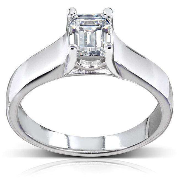 Kobelli Emerald Cut Diamond Solitaire Ring 1 Carat (ctw) in 14k White Gold