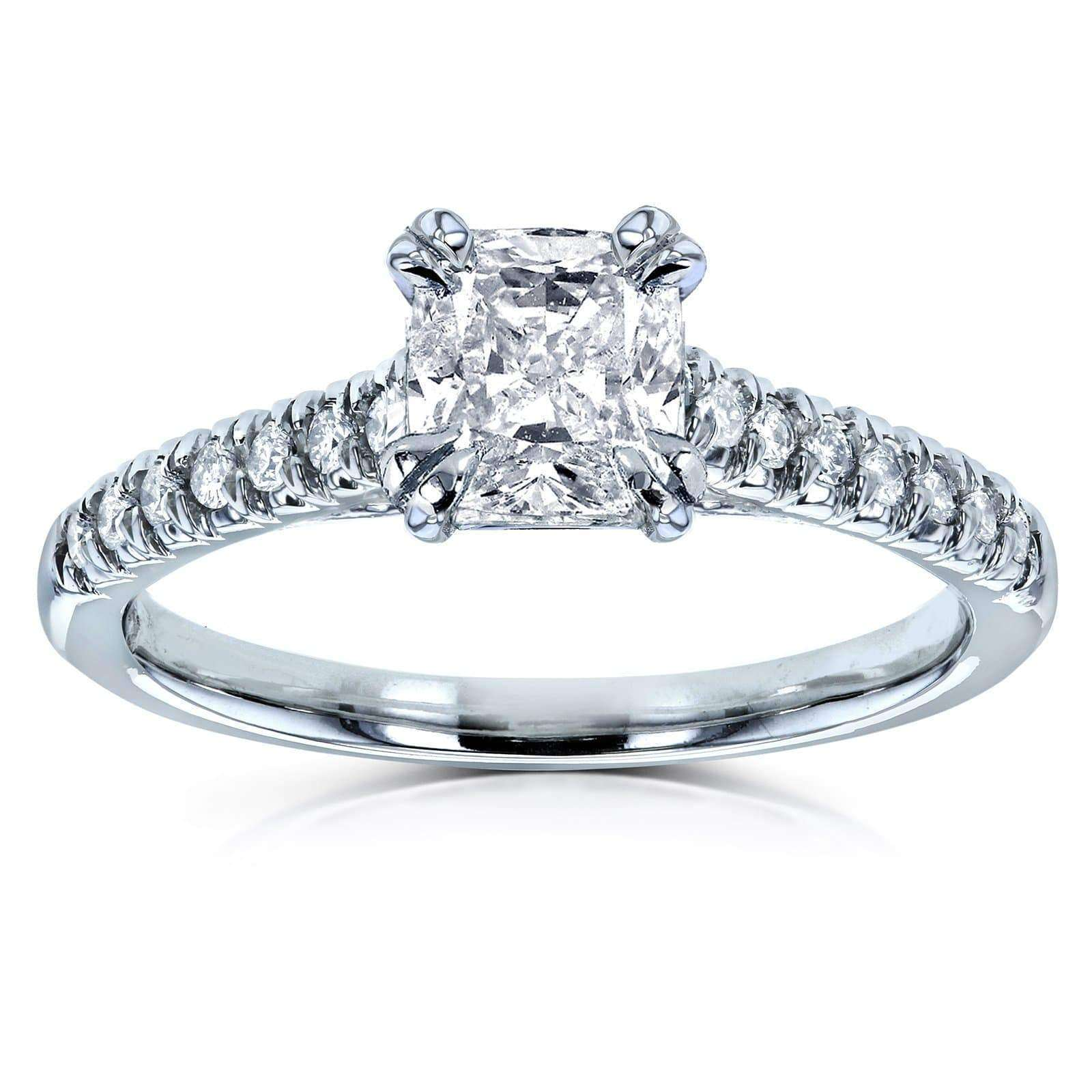 Cushion Cut 1ct Diamond Solitaire Center French Pave