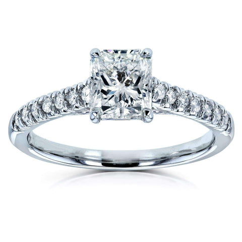 Radiant Cut Diamond French Pave Ring in 14k White Gold