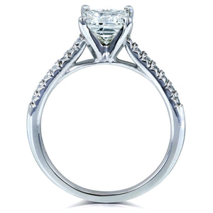 Radiant 1ct Diamond French Pave Ring 14k White Gold