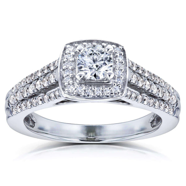 Kobelli 1/2ct.tw Multi-Row Diamond V-Bridge Halo Ring 14k White Gold