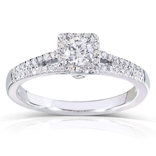 Kobelli 1/3ct.tw Dainty Diamond Halo Split Shank Ring 14k White Gold