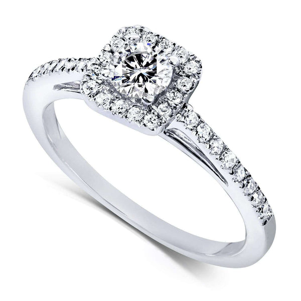 Kobelli 1/3ct.tw Dainty Halo Diamond Ring 14k White Gold