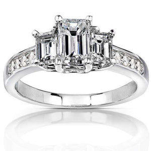 Emerald Cut Diamond Three Stone Engagement Ring 1 1/3 Carat (ctw) in 14k White Gold