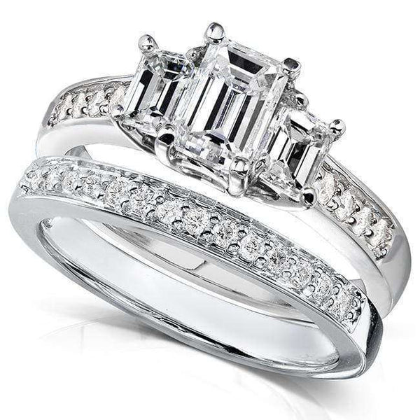 Kobelli Diamond Three Stone Bridal Ring Set 1 1/2 Ct (ctw) in 14k White Gold