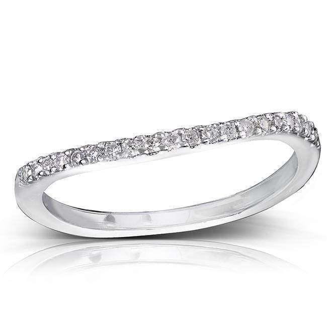 Top Round Brilliant Diamond Curved Wedding Band 1/6 Carat (ctw) in 14K Gold - white-gold 4.5
